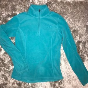 turquoise 1/4 zip fleece north face pullover